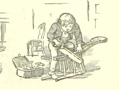 Drawing of a boy working in a woodshop, with a bunch of tools around him
